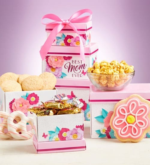 Best Mom Ever Sweets & Treats Tower Gift Basket