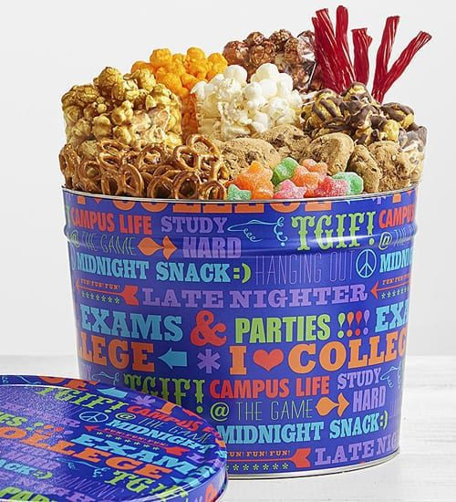 Drizzled Caramel Corn University of Snacks Tin Gift Basket
