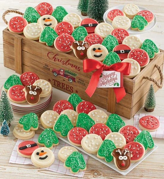 Frosted Christmas Cookies Crate Gift Basket