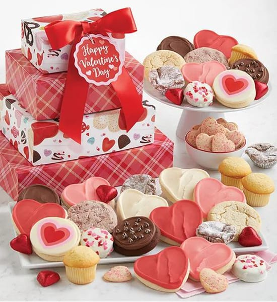 Buttercream Hearts Valentine Bakery Tower Gift Basket