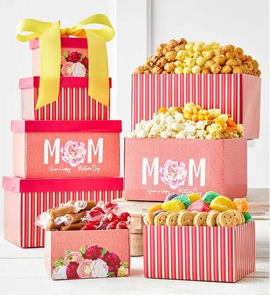 Mother's Day Movie Night Treats Tower Gift Basket