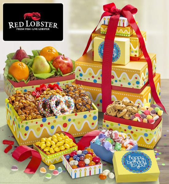 Red Lobster Happy Birthday Fresh Fruit & Sweets Gift Basket